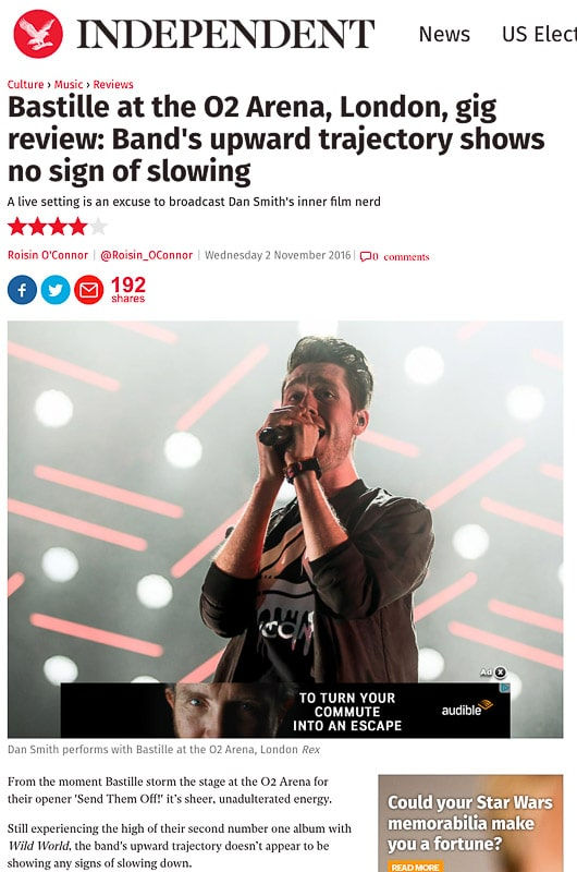 Image usage - The Independent online 2 November 2016 - Bastille live at The O2 Arena, 1 November 2016