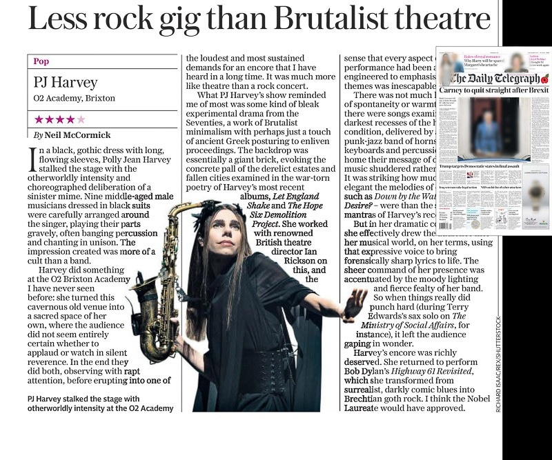 Image usage - The Daily Telegraph newspaper, 1 November 2016 - PJ Harvey live at O2 Academy Brixton 30 October 2016