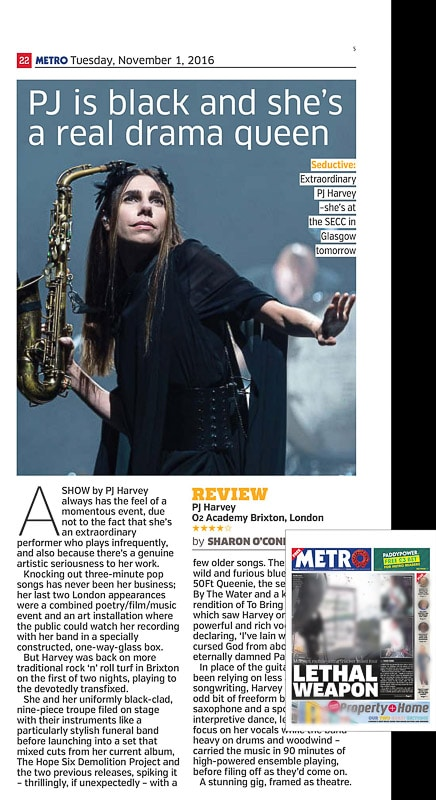 Image usage - Metro newspaper, 1 November 2016 - PJ Harvey live at O2 Academy Brixton 30 October 2016