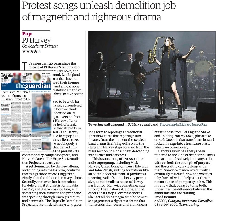 Image usage - The Guardian newspaper, 1 November 2016 - PJ Harvey live at O2 Academy Brixton 30 October 2016
