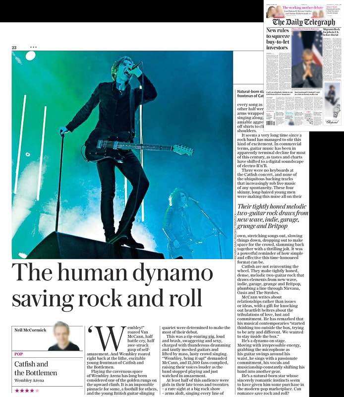 Image usage - Daily Telegraph newspaper 17 November 2016 - Catfish and the Bottlemen live at Wembley Arena 15 November 2016