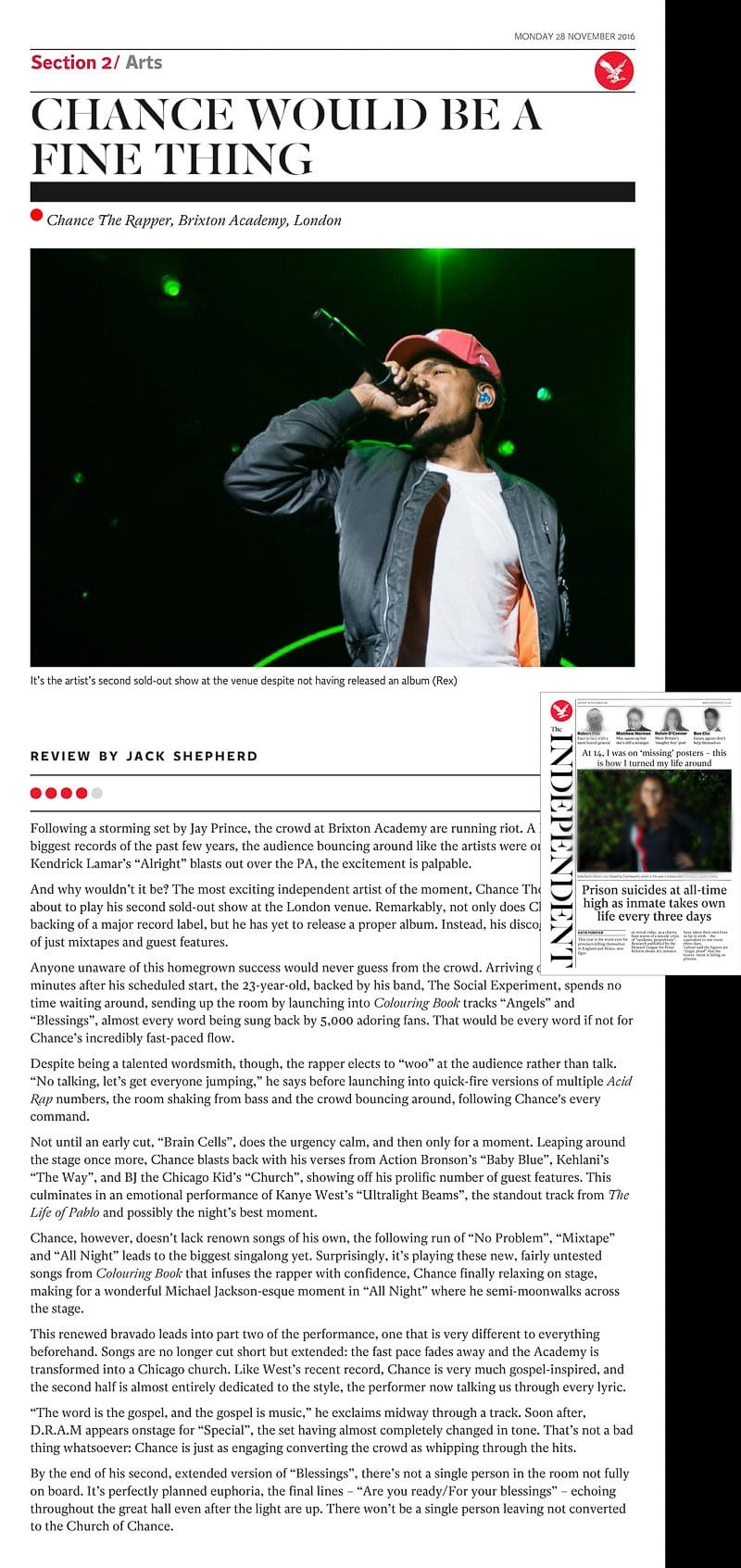 Image usage - The Independent newspaper 28 Nov 2016 - Chance the Rapper live at O2 Academy Brixton 22 Nov 2016