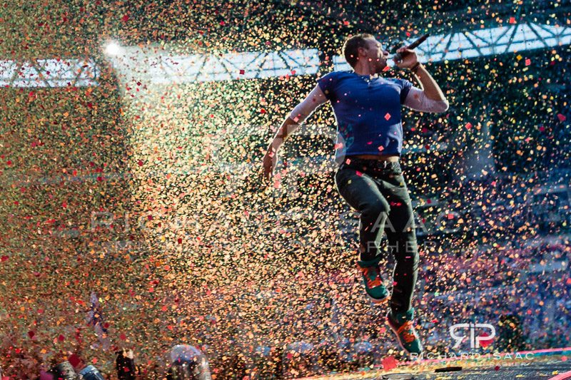 Chris Martin of Coldplay live at Wembley Stadium, 15 June 2016