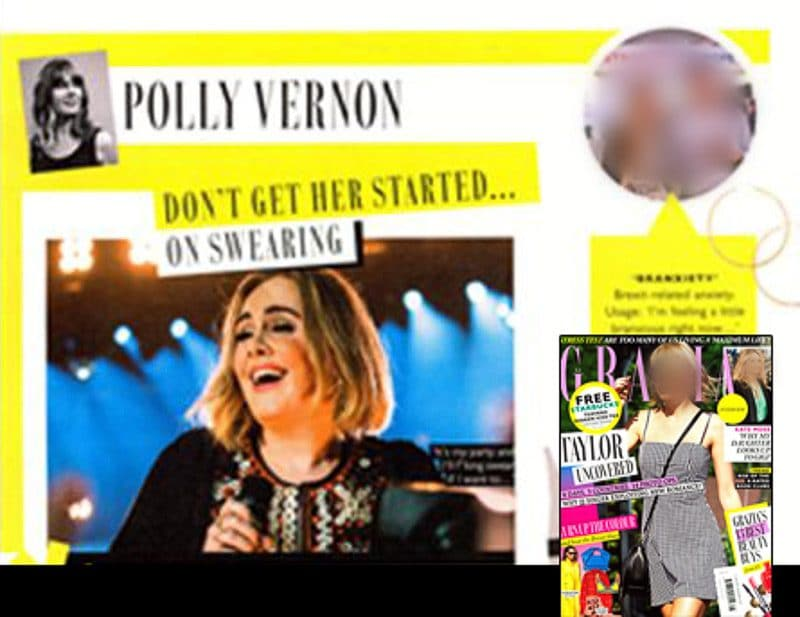 Image usage - Grazia Magazine 11 July 2016 - Adele live at Glastonbury Festival 2016