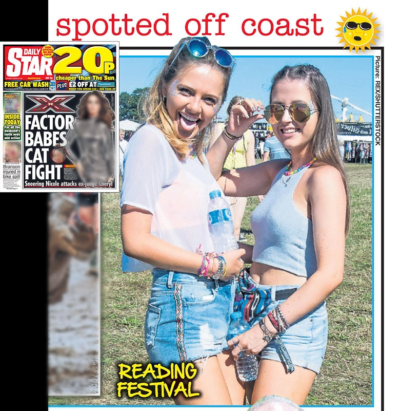 Image usage - Daily Star print newspaper 27 August 2016 - Reading Festival 2016