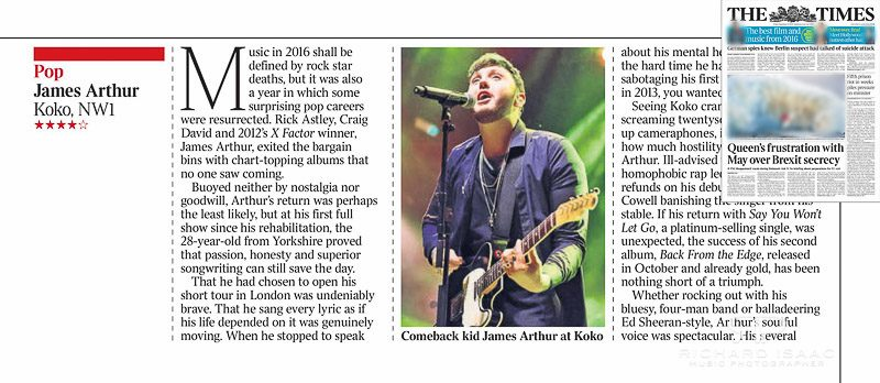 Image usage - The Times newspaper 23 December 2016 - James Arthur live at KOKO 21 December 2016