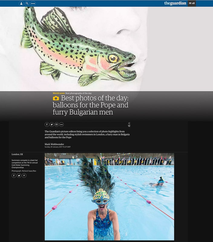 Image usage - Guardian online Pictures of the Day 29 January 2017 - The Cold Water Swimming Championships at Tooting Bec Lido in London, UK, 28 January 2017