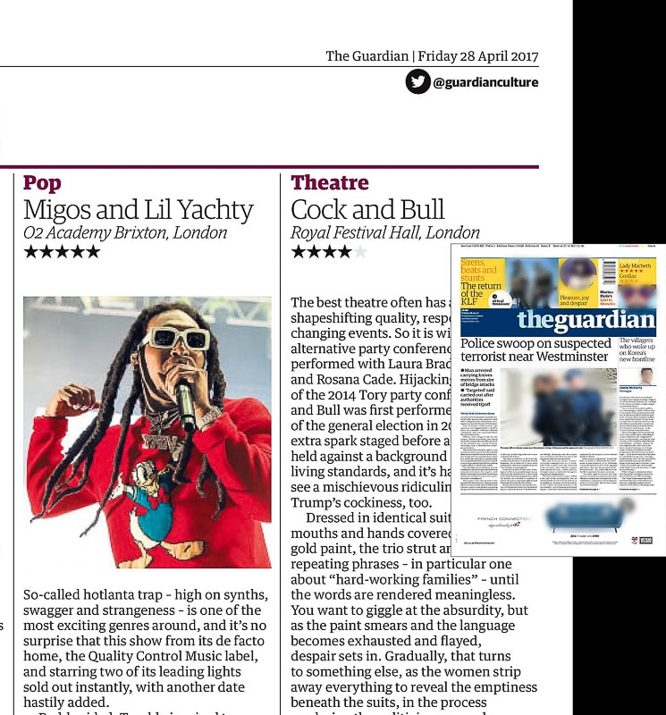 Image usage - Guardian print newspaper 28 April 2017 - Migos and Lil Yachty live at O2 Brixton Academy 25 April 2017