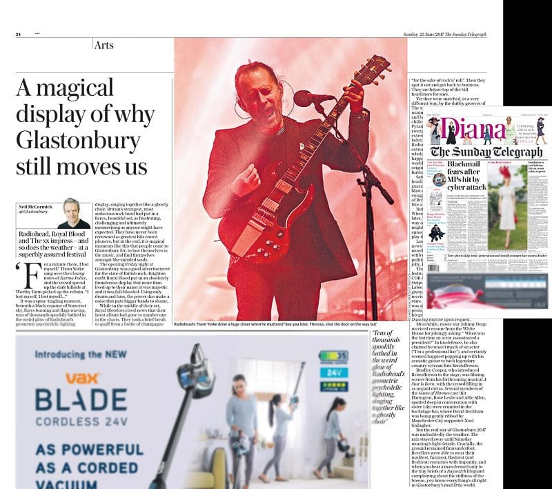 Image usage - Sunday Telegraph newspaper - 25/6/2017 - Radiohead live at Glastonbury Festival 2017
