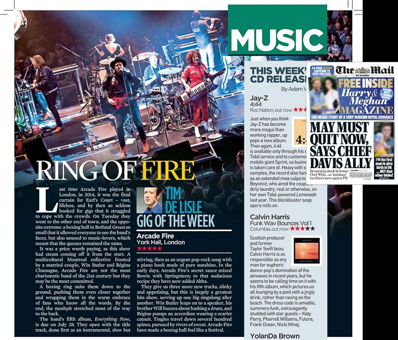 Image usage - The Mail on Sunday Event Magazine 9/7/2017 - Arcade Fire live at York Hall London 4/7/2017