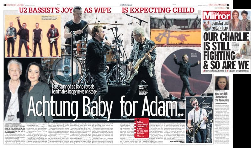 Image usage The Daily Mirror 10/7/2017 - U2 live at Twickenham Stadium London 8/7/2017
