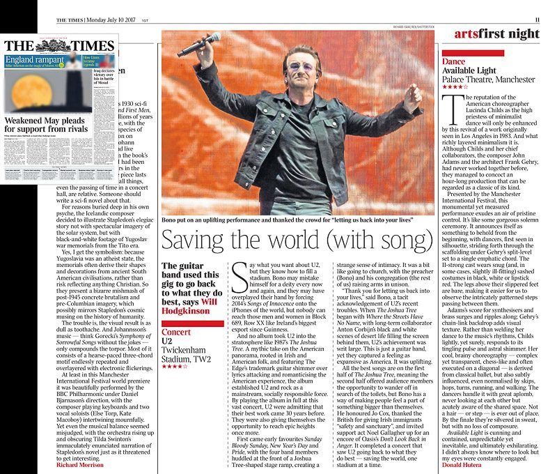 Image usage The Times 10/7/2017 - U2 live at Twickenham Stadium London 8/7/2017