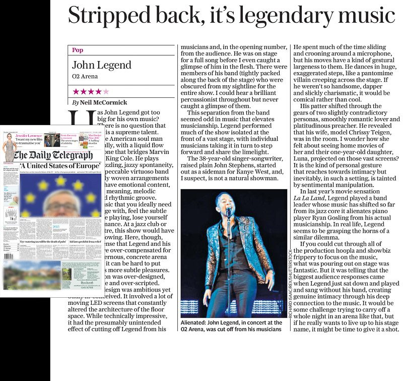 Image usage - Daily Telegraph 14/9/17 - John Legend live at The O2 Arena