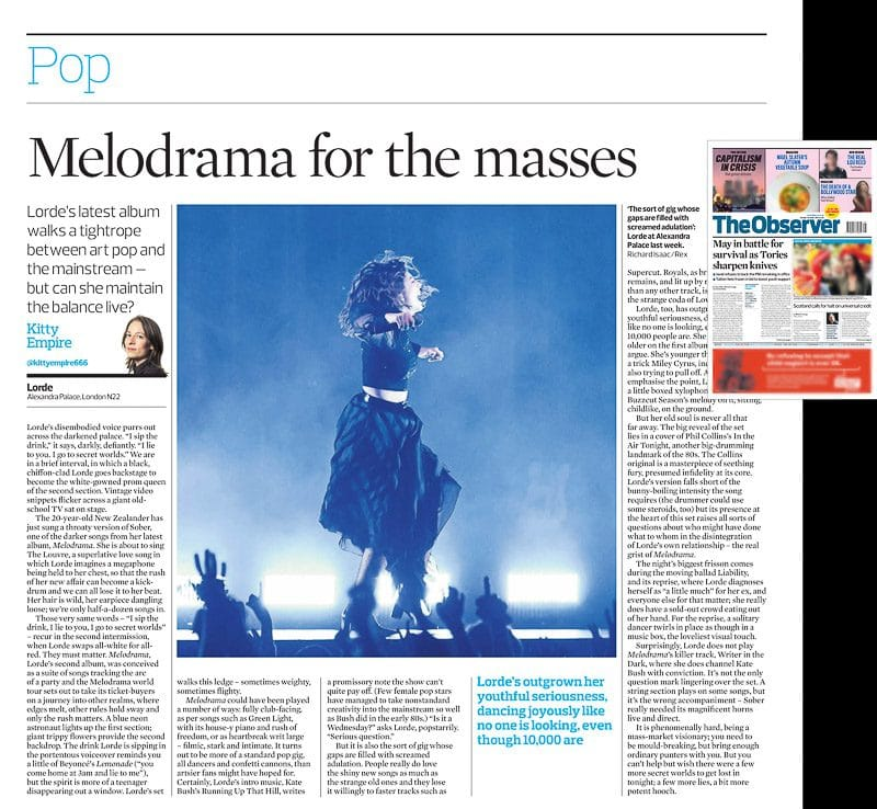 Editorial image usage - The Observer newspaper 1 October 2017 - Lorde concert Alexandra Palace 28 September 2017