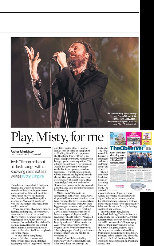 Image usage - The Observer newspaper 12/11/17 - Father John Misty live at Eventim Apollo 7/11/17