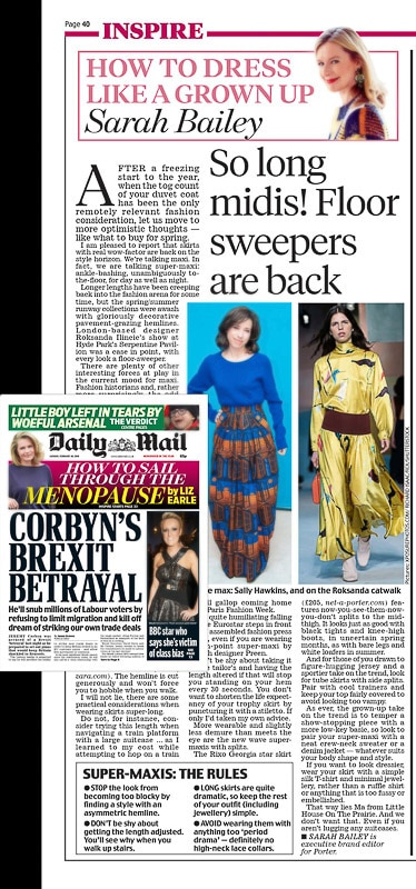 Image usage - Daily Mail 26/2/2018 - London Fashion Week Fall Winter 2018, Roksanda