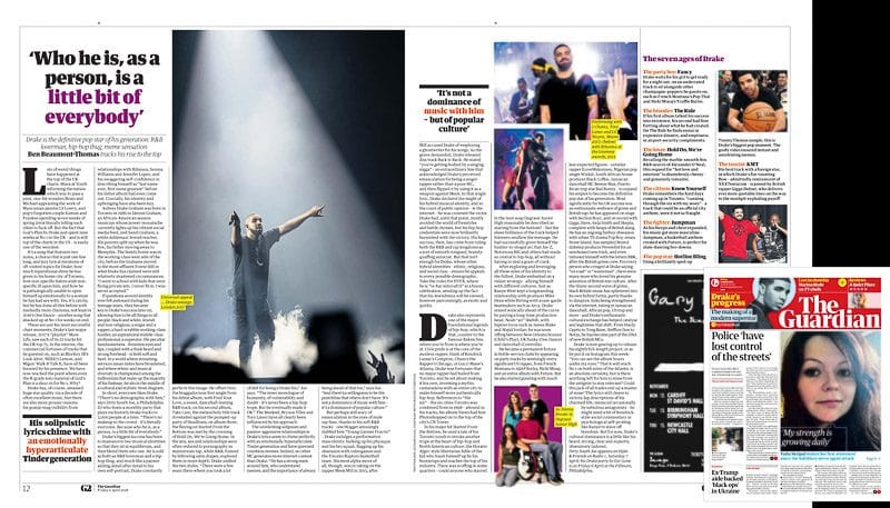 Image usage - The Guardian 6/4/2018 - Drake live at The O2 Arena 1/2/2017 and at Reading Festival 27/8/2017