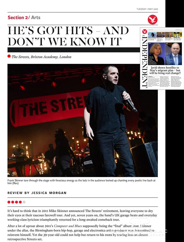 Image usage - The Independent newspaper 1/5/18 - The Streets live at O2 Academy Brixton 26/4/18