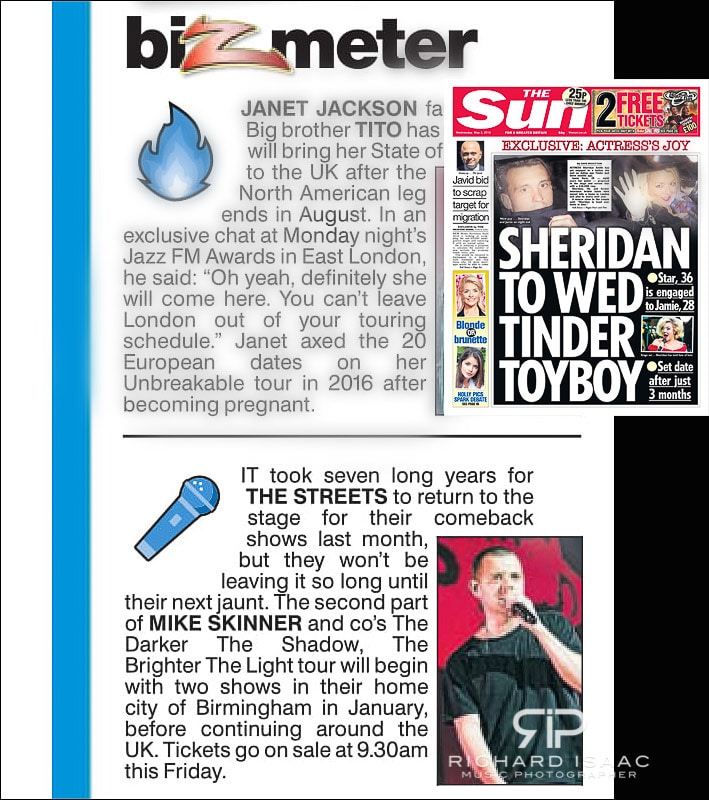 Image usage - The Sun newspaper 2/5/18 - The Streets live at O2 Academy Brixton 26/4/18