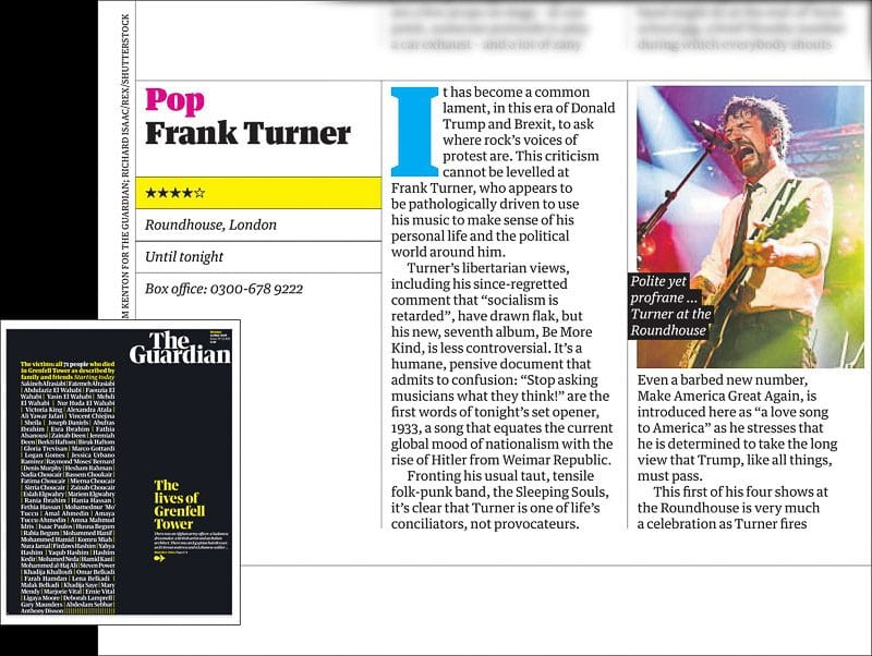 Image usage - The Guardian newspaper 14/5/2018 - Frank Turner live at the Roundhouse 11/5/2018