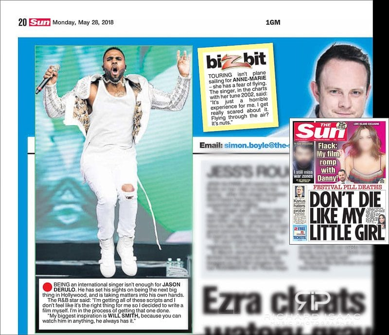 Image usage - The Sun newspaper 28/5/2018 - Jason Derulo performing at BBC's Biggest Weekend in Swansea, 27/5/2018