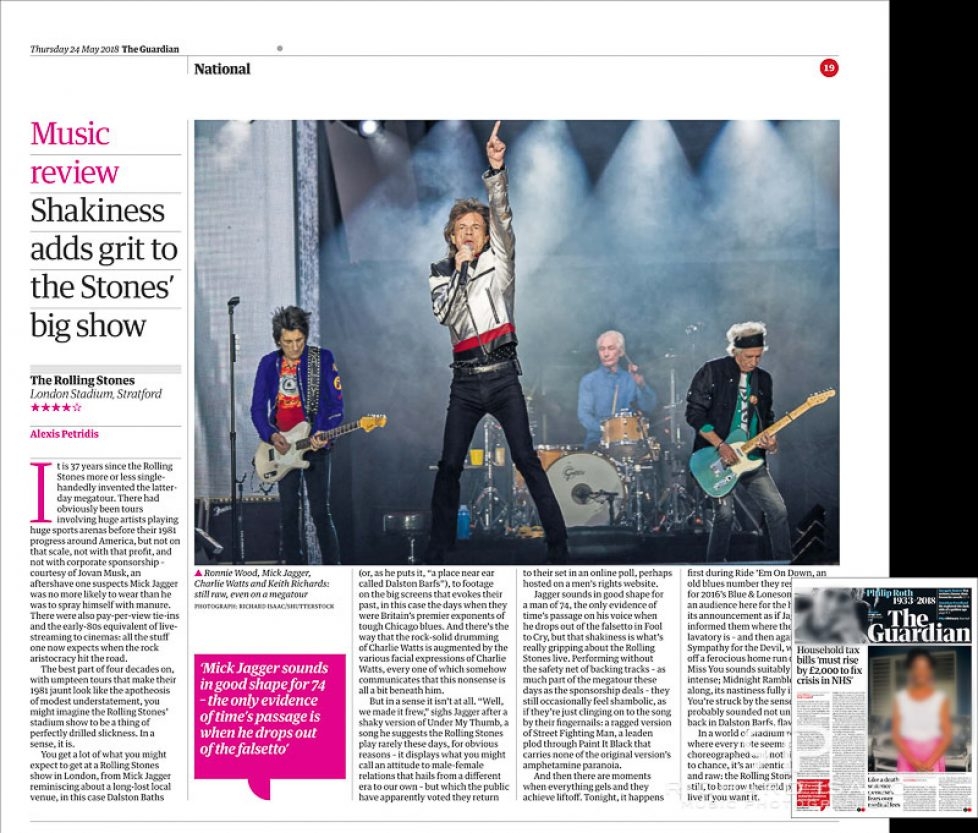 Image usage - The Guardian newspaper 24/5/2018 - The Rolling Stones live at the London Stadium, 22 May 2018