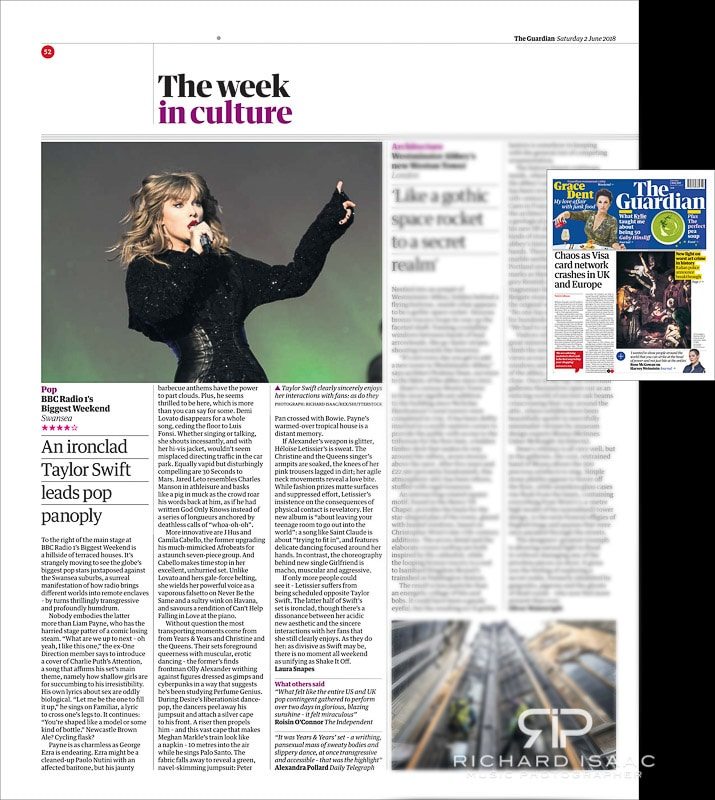 Image usage - The Guardian Newspaper 2/6/2018 - Taylor Swift performing at BBC's Biggest Weekend 27/5/2018