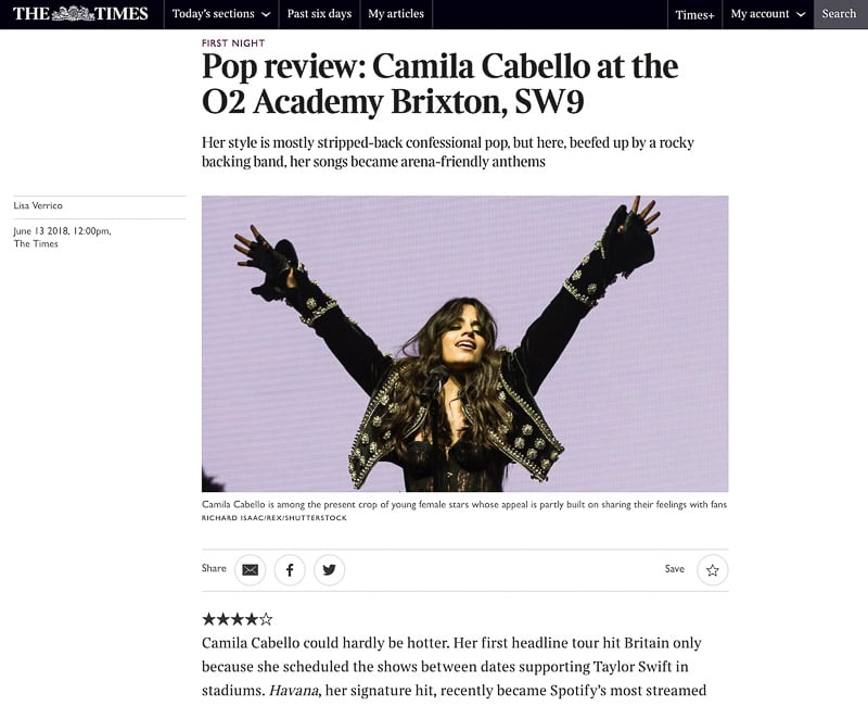 Image usage 13/5/2018 - The Times - Camila Cabello live at O2 Academy Brixton 12/6/18