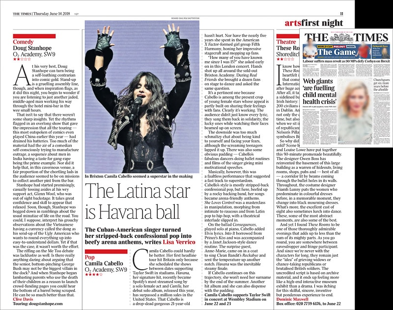 Image usage - The Times newspaper 14/6/2017 - Camila Cabello live at O2 Academy Brixton, 12/6/2018