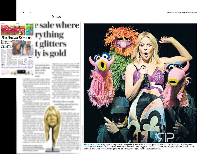 Image usage - The Sunday Telegraph newsapaper 15/7/2018 - The Muppets Take the O2 with Kylie Minogue at The O2 Arena 13/7/2018