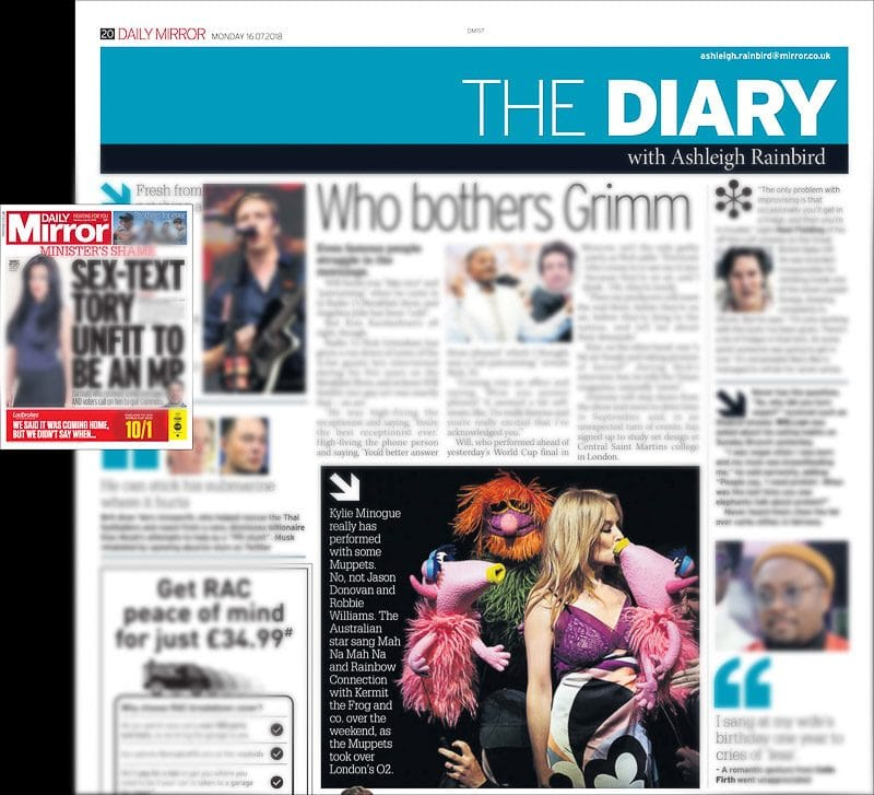 Image usage - The Daily Mirror newsapaper 16/7/2018 - The Muppets Take the O2 with Kylie Minogue at The O2 Arena 13/7/2018