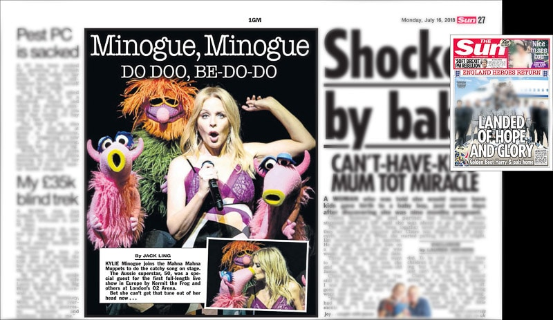 Image usage - The Sun 16/7/2018 - The Muppets Take the O2 with Kylie Minogue at The O2 Arena 13/7/2018