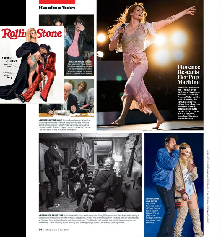 Image usage - Rolling Stone magazine July 2018 issue - Florence and the Machine live at BBC's Biggest Weekend Swansea 2018