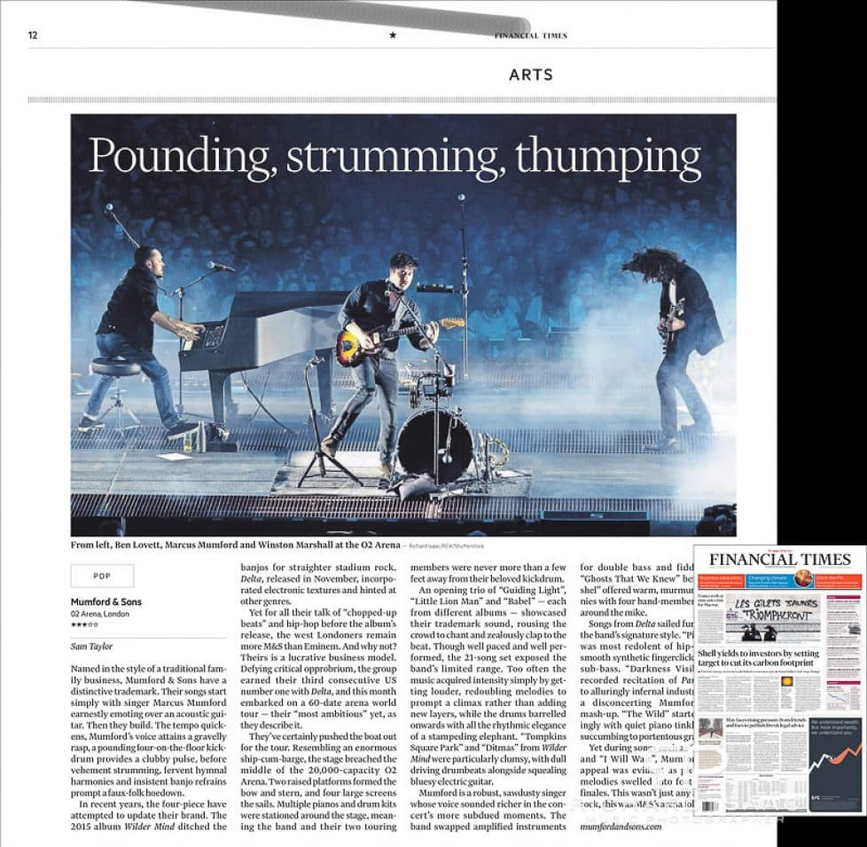 Image usage - Mumford & Sons live at The O2 Arena 29/11/2018 - The Financial Times, 3/12/2018